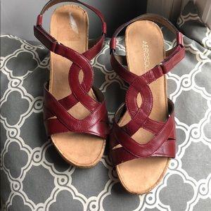 Aerosoles deep red wedge sandal